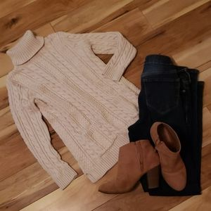 Beige Cable Knit Turtle Neck Sweater